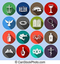 Christianity Icons Set Flat - Christianity traditional...