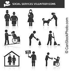 Volunteer icons set - Social responsibility services and...