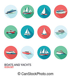 Boats Icons Set - Ocean holiday business voyage tour cruise...