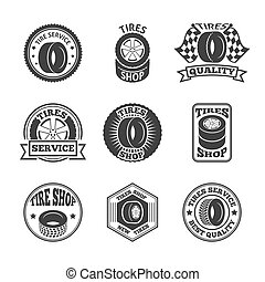 Tires label icon set - Different brands tires tread pattern...