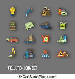 Pollution icon set - Radioactive and carbon dioxide toxic...