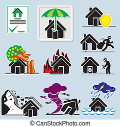 home insurance icons - set of vector icons with symbols home...