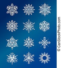 Vector snowflakes set - Winter illustration with beautiful...
