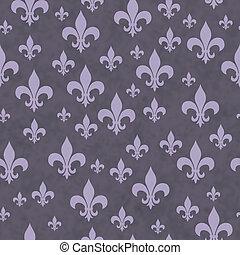 Purple Fleur-de-lis Pattern Repeat Background that is...
