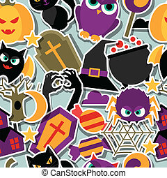 Happy halloween seamless pattern with flat sticker icons