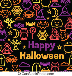 Happy halloween seamless pattern with flat icons