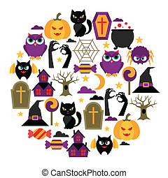 Happy halloween greeting card with flat icons
