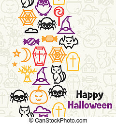 Happy halloween greeting card with flat icons.