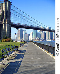 Brooklyn Bridge park, New York - Benches and pathway in...