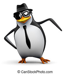 3d Penguin dances - 3d render of a penguin in a pork pie hat...