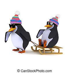 3d Penguins playing on a sled - 3d render of two penguins...