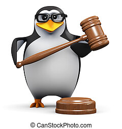 3d Penguin holds an auction - 3d render of a penguin holding...