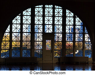 Ellis Island window - Window in Ellis Island main hall, New...
