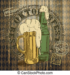 beer background Oktoberfest, this illustration can be used...