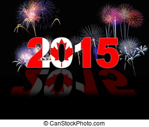 Canada, New year 2015. - Illustration with 2015 Canada flag...