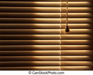 Closed venetian blinds background - Sun blocked by wooden...