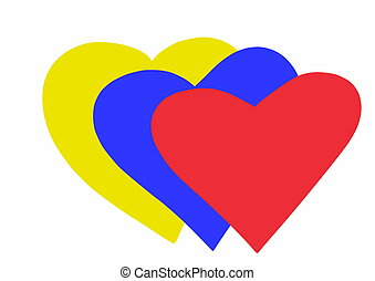 Colombia heart flag doodle style