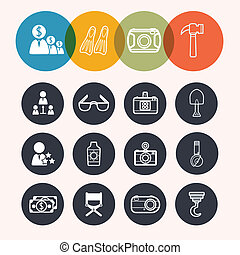 collection Circle Series icons ,Business,Tourism,camera,construc