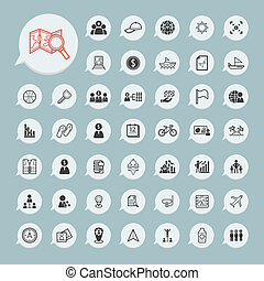 Business icons and itinerary icons Set on blue paper set.1