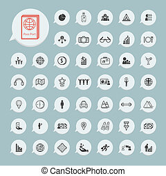 Business icons and itinerary icons Set on blue paper set2