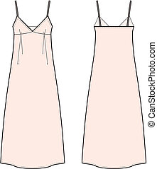 Dress - Vector illustration of womens long dress Front and...
