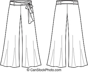 Pants - Vector illustration of women's pants. Front and back...
