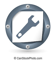 dark abstract icon with paper and spanner