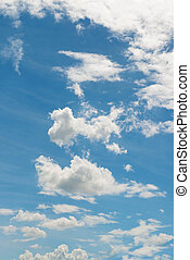 blue sky and white fluffy clouds - The blue sky and white...