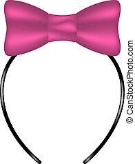 Headband with bow in pink design on white background