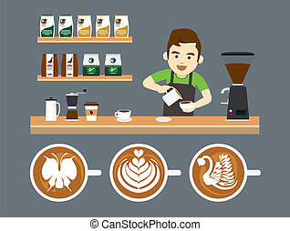 Barista Pouring Latte Art - Barista making latteart at...