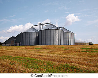 Farm grain silo agriculture production image