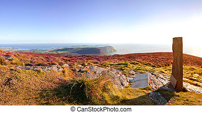 Panorama of South Isle of Man with Celtic Cross