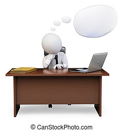 3D white people. Businessman thinking in his office