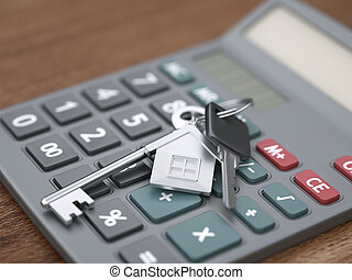 Calculator and house keys close-up