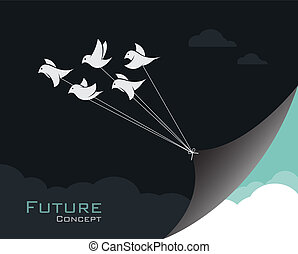 Vector image of birds changing reality.