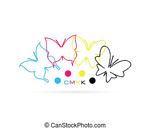 Vector group of butterfly colored cmyk print