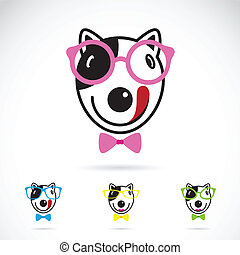 Vector image of a dog glasses on white background. Fashion