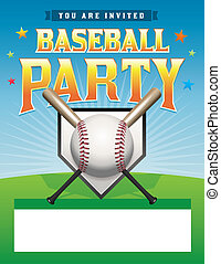 Baseball Party Flyer Illustration - A baseball party flyer...