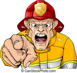 Angry fireman cartoon - An illustration of an angry shouting...