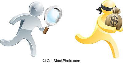 Solving crime - A detective person with magnifying glass...