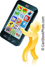 Mobile phone gold man - Illustration of a gold figure mascot...