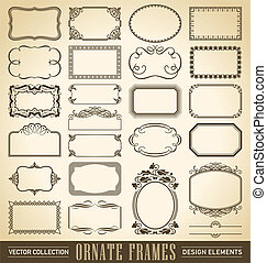 ornate frames set vector - set of 24 hand-drawn frames and...