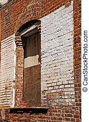 Urban Backstreet Alley - Boarded Up Doorway in Backstreet...