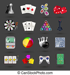 Game icons set - Game sport and gambling casino icons set...
