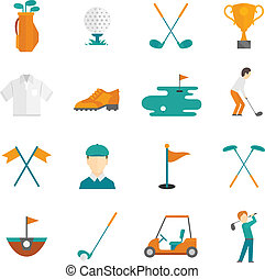 Golf icons set - Golf game equipment and player flat icons...