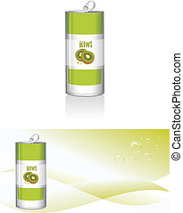Nonalcoholic kiwi drink. Vector illustration
