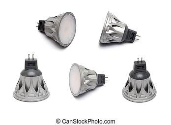 Closeup of newest LED light bulb isolated on white