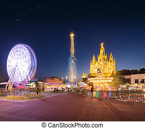 Amusement Park and Temple at Tibidabo, Barcelona, Spain