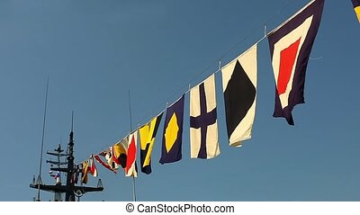 Flags on a warship    - military naval flags on a warship