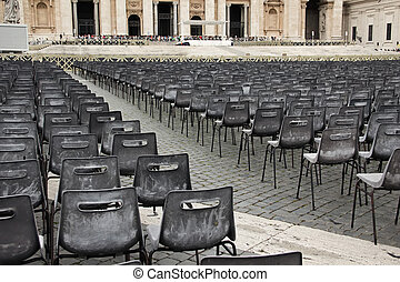 Square with chairs for parishioners in front St Peters...